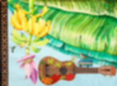 Painting commissioned by Colony Club for their Lagoon Restaurant by Cathy Cummins; Depicts Banana leaves and a hand of bananas with Guitar, also featuring small illustrations of a teapot, hummingbird, wood dove and a Bajan Bus and street sign