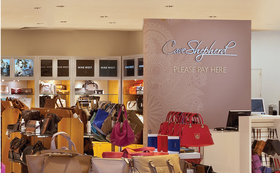 Instore Image of Cave Shepherd Payment Area in their Designer Leather Department at their Main Store, Broad Street, Barbados