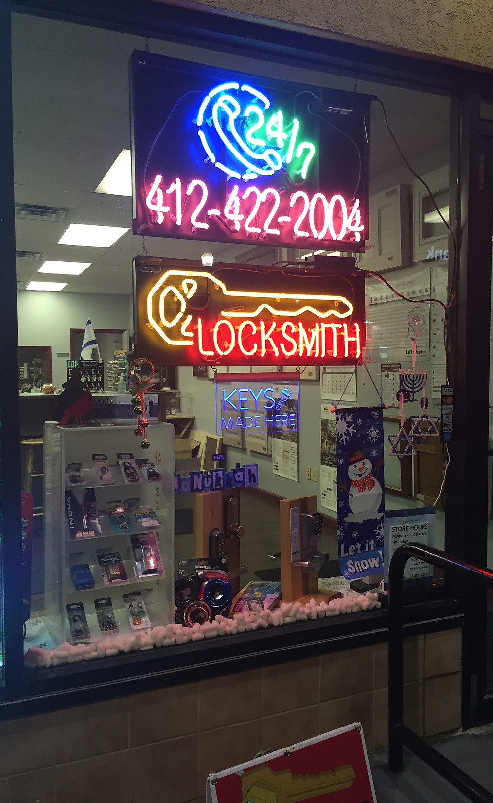 Murray Avenue Locksmith Storefront decoration for the holidays
