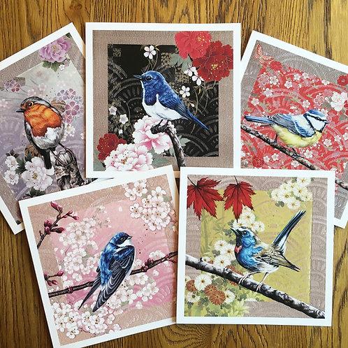 Luxury 'Washi Birds' Card Pack of 5