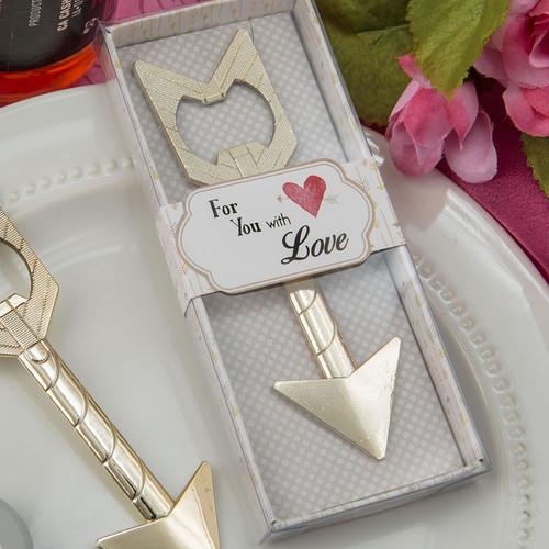 cupids arrow gold metal bottler opener