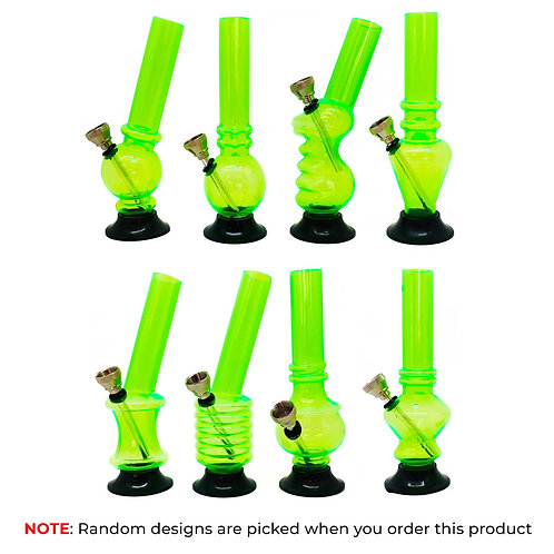 Mini Green Acrylic Bong Mixed Designs 15cm