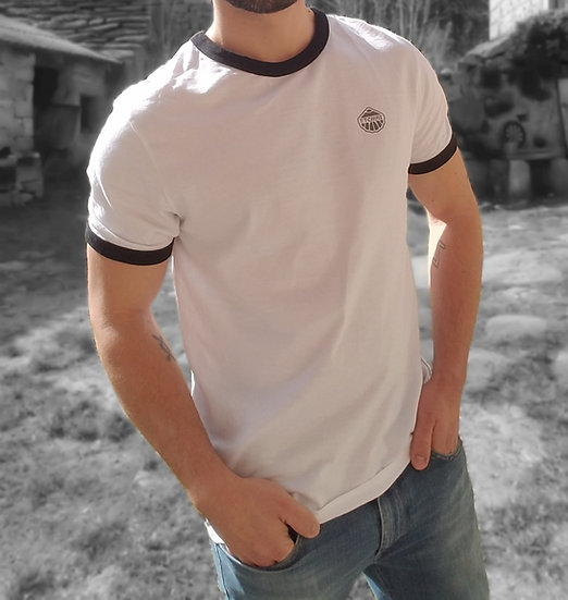 Tee-shirt UNISEXE Blanc Ring noir ~ Logo coté coeur ~