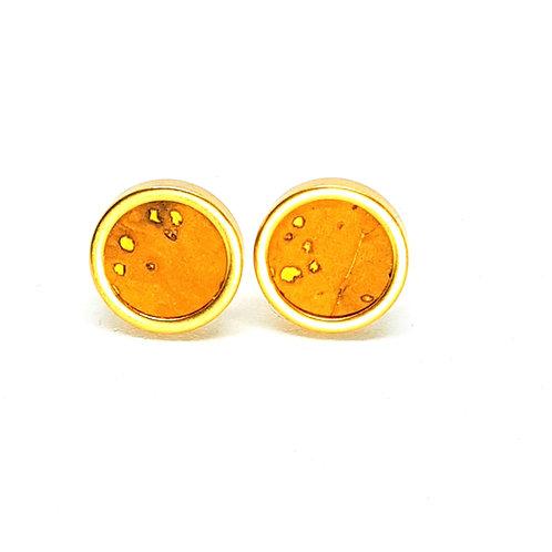 Ohrstecker Edelstahl – Kork hellbraun mit Einschlüssen 8 oder 10mm