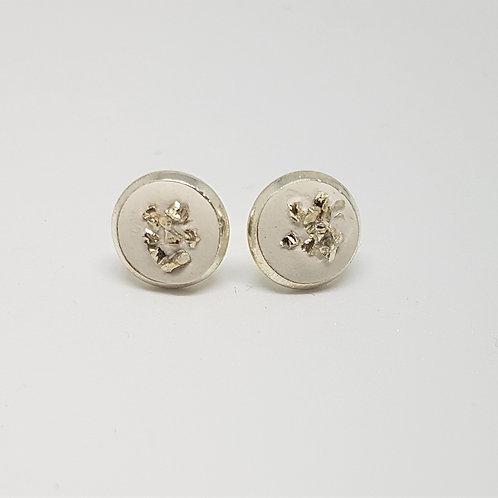 Ohrstecker silber – Gips Beton mit silbernen Foliensplitter 8 oder 10 mm
