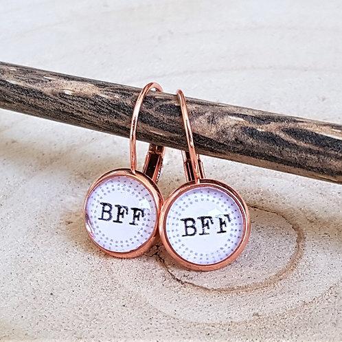 Ohrhänger Brisur Rosé Gold – BFF rund 10 mm - Ohrstecker Best Friends Forever