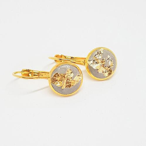 Ohrhänger gold – Beton 10mm mit Goldfolie Blattgold