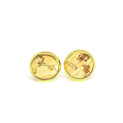 Ohrstecker – Kork natur mit gold Einschlüsse rund 8 oder 10 mm