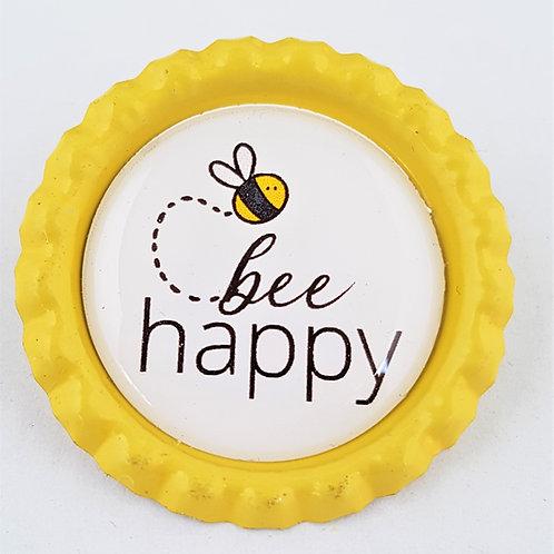 Magnet oder Button Kronkorken - Bee Happy Biene - Kühlschrankmagnet