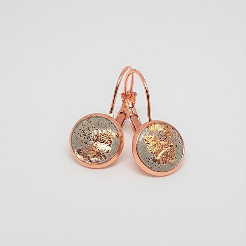 Ohrhänger rosé gold / kupfer – Beton 10mm mit Kupferfolie und Glitzer