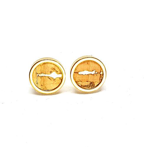 Ohrstecker Edelstahl – Kork natur mit gold Einschlüssen 8 oder 10mm