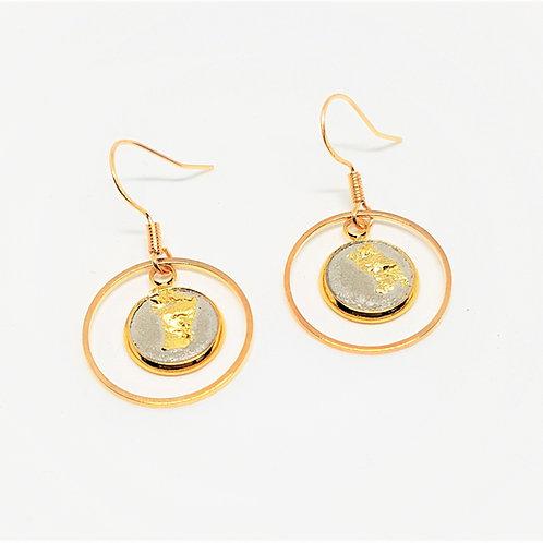 Ohrhänger gold – Beton 10mm mit Goldfolie und Creolen rund