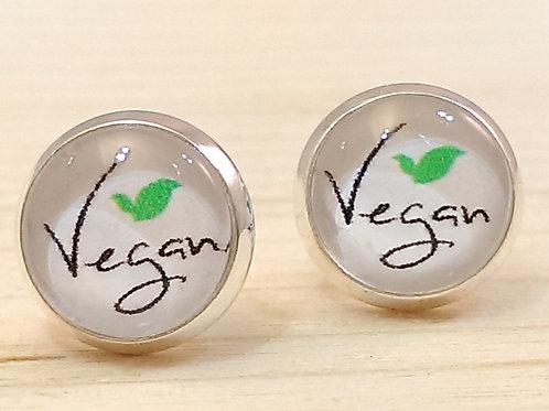 Ohrstecker silber – Vegan Vegetarier Veggie rund 10 mm