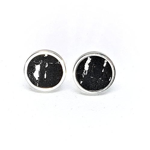 Ohrstecker Edelstahl – Kork schwarz mit Silberfolie rund 8, 10 mm