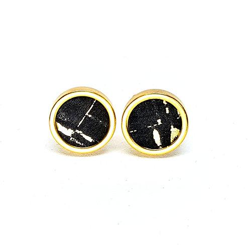 Ohrstecker Edelstahl – Kork schwarz mit goldenen Einschlüssen 8 oder 10mm