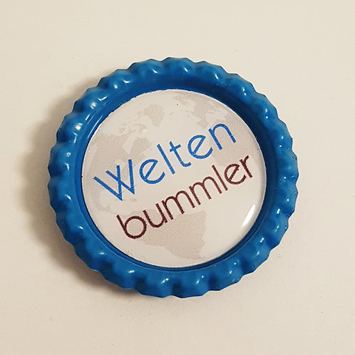 Magnet oder Button Kronkorken - Weltenbummler - Kühlschrankmagn