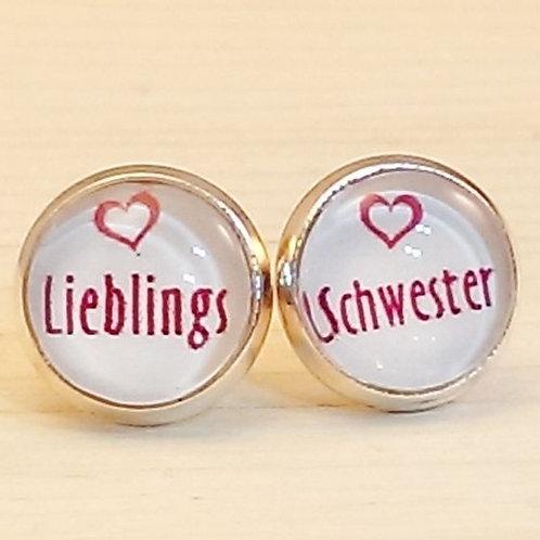 Ohrstecker silber – Lieblingsschwester rund 10 mm