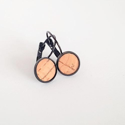 Ohrhänger – Kork natur mit Einschlüsse rund 10 mm Fassung wählbar