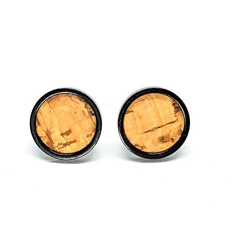 Ohrstecker Edelstahl – Kork natur mit Einschlüssen 8 oder 10mm