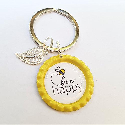 Schlüsselanhänger gelb Kronkorken - Bee Happy und Anhänger silber