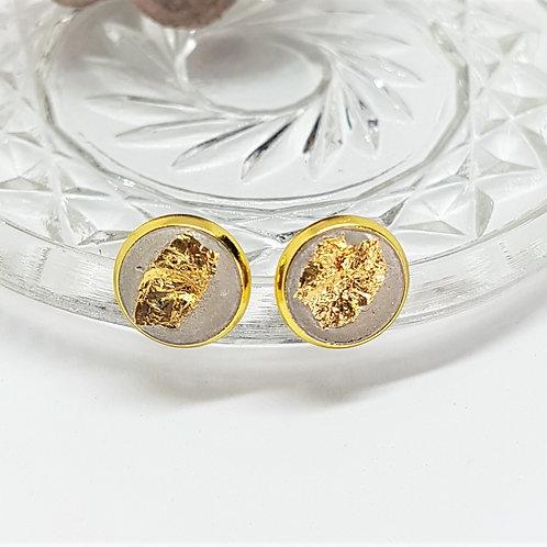 Ohrstecker gold – Beton 10mm mit Goldfolie Blattgold