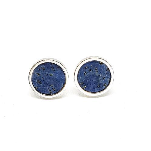 Ohrstecker Edelstahl – Kork blau mit Einschlüssen 8 oder 10mm