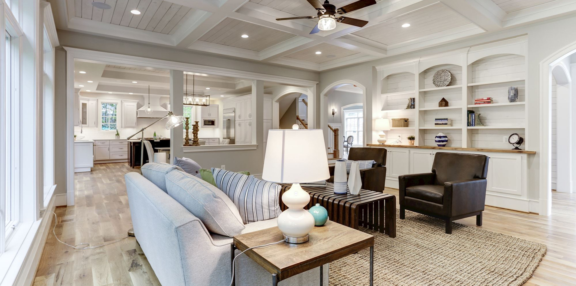 Family room with views into the kitchen