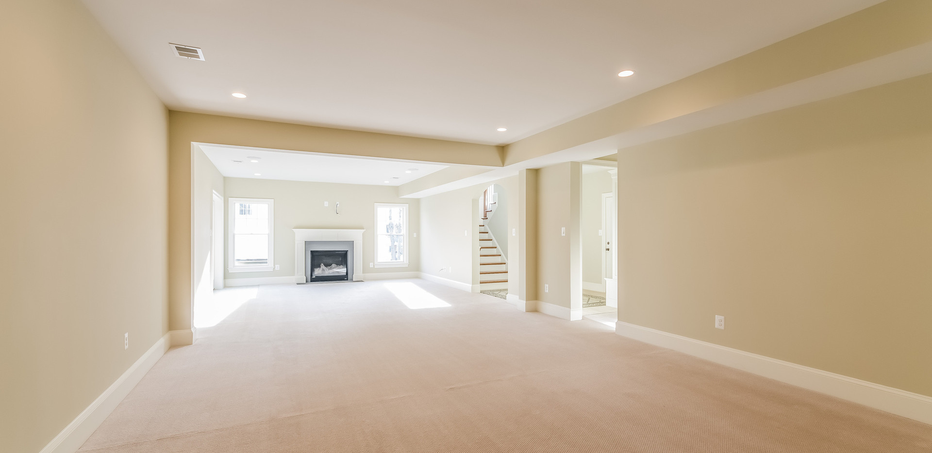 Basment Rec Room with gas fireplace and backyard walk-out