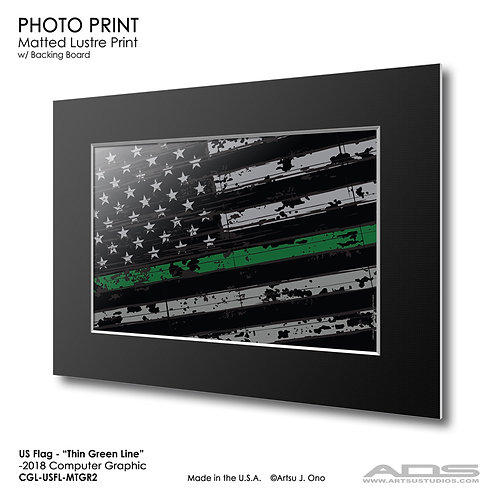 US Flag Thin Green Line: Photograph