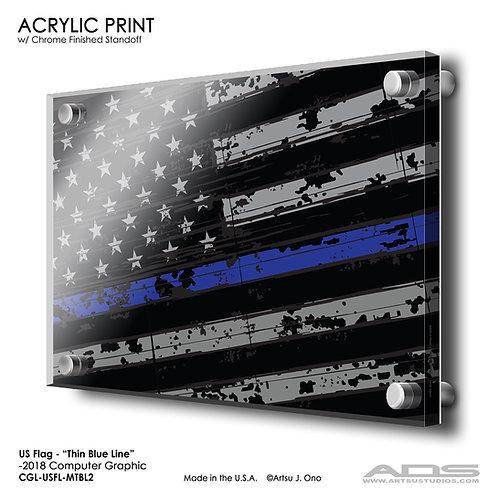 US Flag Thin Blue Line: Acrylic Print
