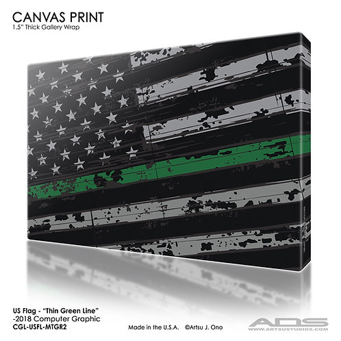 US Flag Thin Green Line Canvas