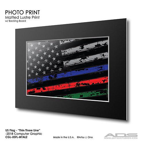 US Flag Thin Three Line: Photograph