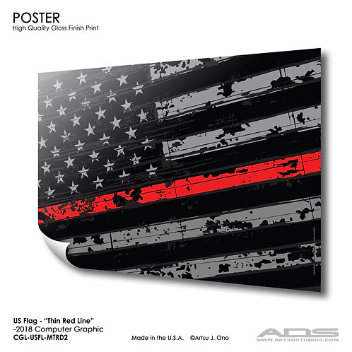 US Flag Thin Red Line: Poster