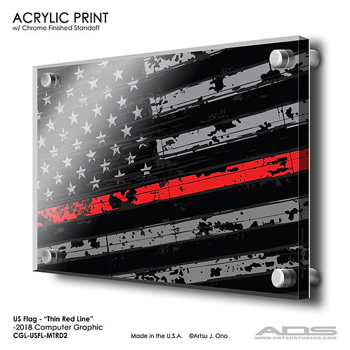 US Flag Thin Red Line: Acrylic Print