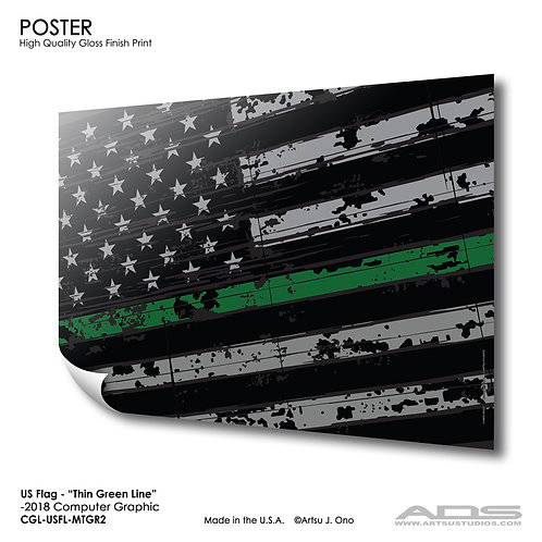 US Flag Thin Green Line: Poster