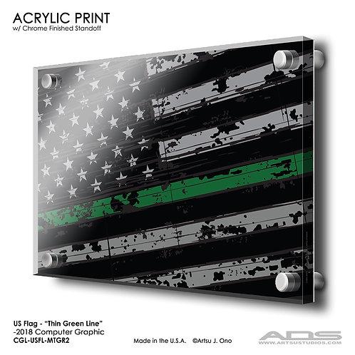 US Flag Thin Green Line: Acrylic Print