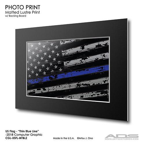 US Flag Thin Blue Line: Photograph