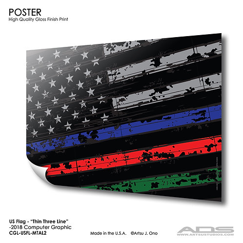 US Flag Thin Three Line: Poster