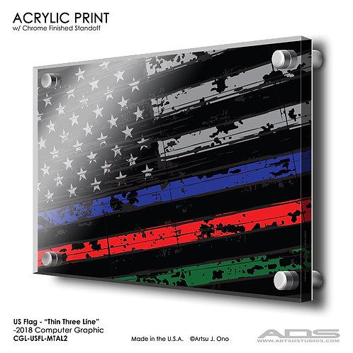 US Flag Thin Three Line: Acrylic Print