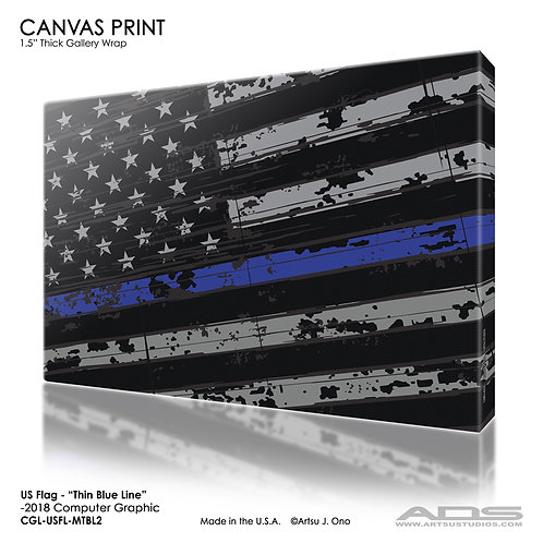 US Flag Thin Blue Line Canvas