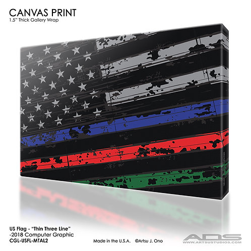 US Flag Thin Three Line Canvas