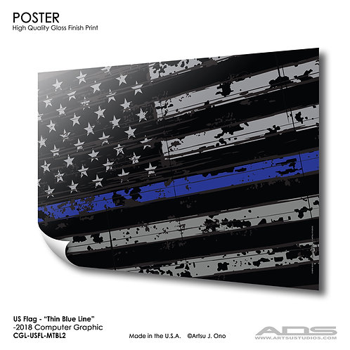 US Flag Thin Blue Line: Poster