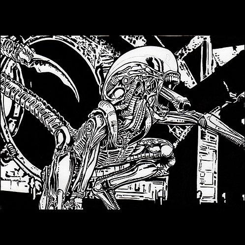 Dog Alien Xenomorph- Original Art for Official Alien Trading Cards