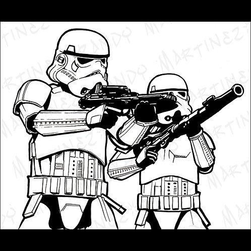 Stormtroopers-Pro Back Glass Original Art for Star Wars Gaming