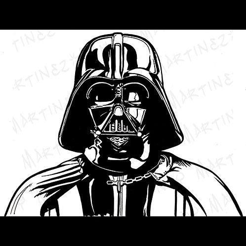 Darth Vader-Pro Back Glass original Art For Star Wars Gaming