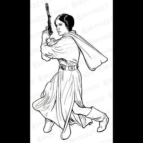 Princess Leia-Pro Back Glass Original Art for Star Wars Gaming