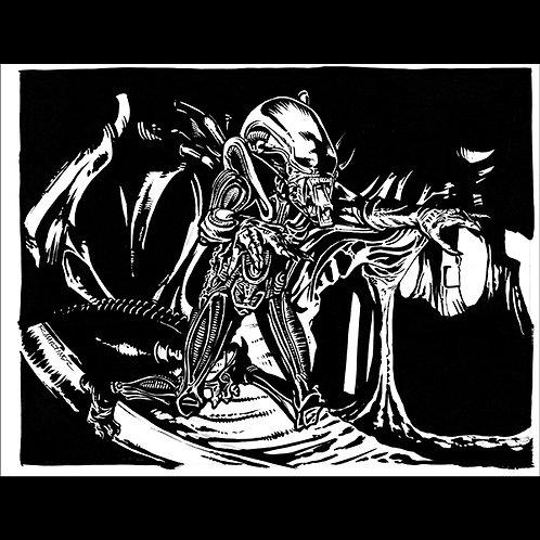 Jumping Alien Xenomorph - original art for Official Aliens Trading Cards