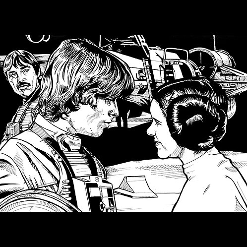 Luke and Leia: A New Hope- Original Art for official Star Wars Trading Cards