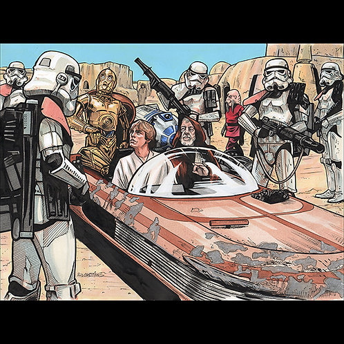 Stopped by Sandtroopers - Official Star Wars Trading Card Art