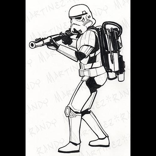 Sandtrooper-Back Glass Original Art for Star Wars Gaming
